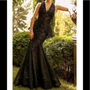 Nicole Bakti black beaded formal dress